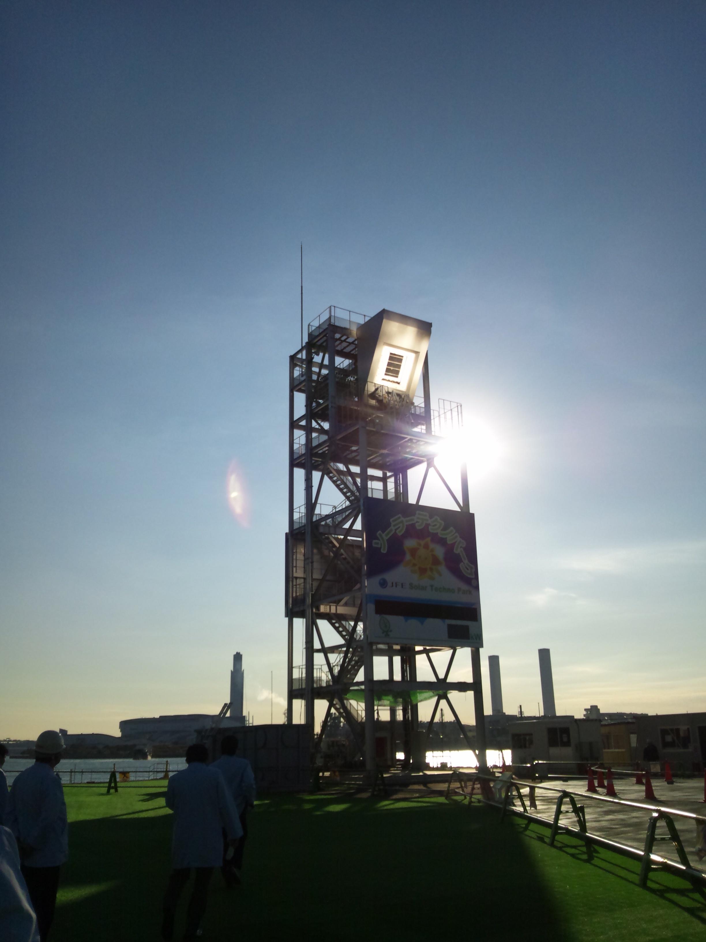 タワーの真ん中に光を集めています